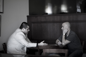 Manouk Akopyan interviewing Hall of Fame tennis player Andre Agassi in 2009.